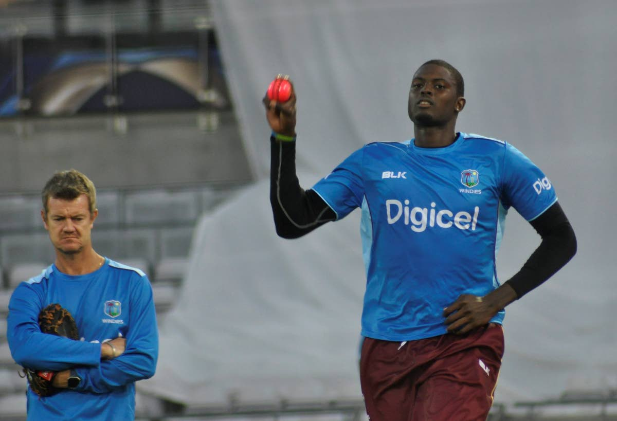 West Indies captain Jason Holder prepares to bowl a delivery during a training session. PHOTO COURTESY CRICKET WEST INDIES.