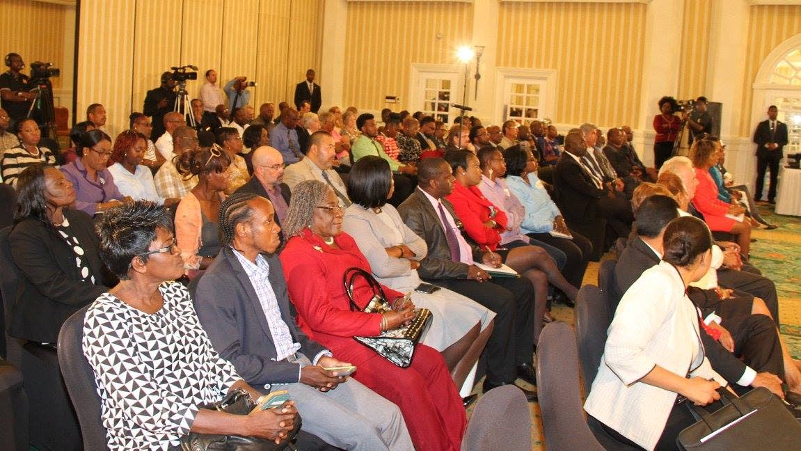Tobago stakeholders listen to Prime Minister Dr Keith Rowley at the Magdalena Grand Beach and Golf Resort yesterday.  PHOTO COURTESY THE OFFICE OF THE PRIME MINISTER
