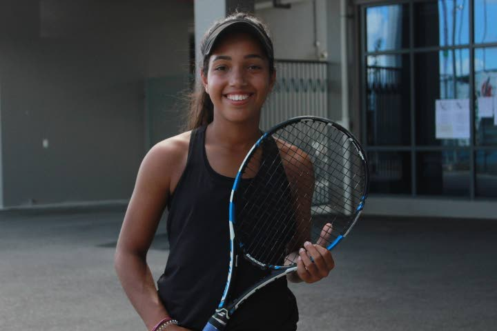 Winner of the lawn tennis Abigail Jones smiling after winning her match at the sports complex in Tacarigua.