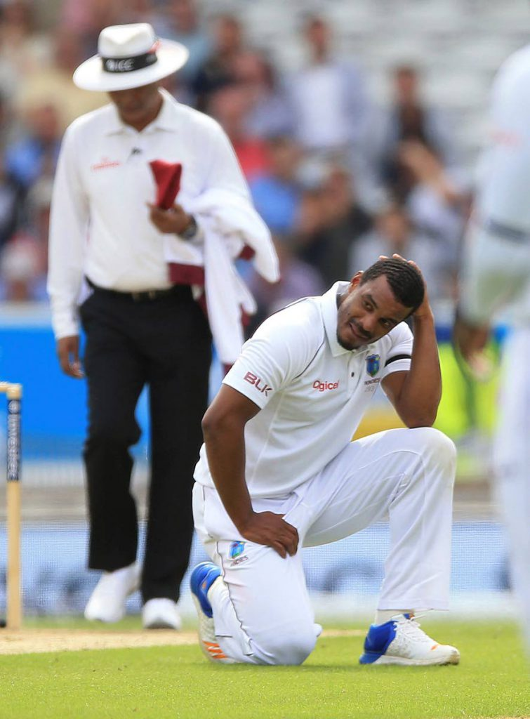 West Indies Shannon Gabriel reacts after England's Joe Root is dropped in the slips during the second Test match.