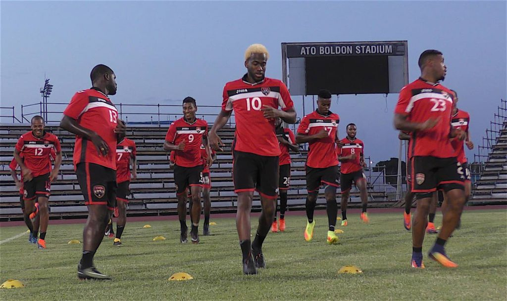 National footballers train at the Ato Boldon Stadium in Couva for Friday's World Cup qualifier.