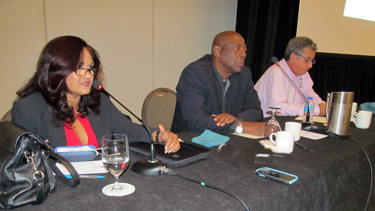 DIVERSIFICATION TALKS: From left: Economist Indera Sagewan Alli; budget analyst, Dr Winford James and Dr Patrick Watson, director of the Sir Arthur Lewis Institute of Social and Economic Studies at the University of the West Indies, panelists at yesterday's Thought Leadership breakfast meeting organised by the Central Finance Facility of the credit union movement at the Hyatt Regency, Wrightson Road, Port of Spain.
