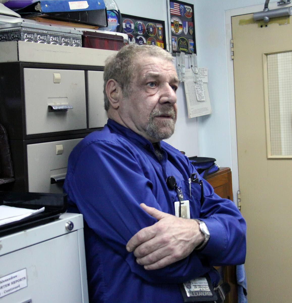 Forensic Pathologist Dr. Valery Alexandrov in his Forensic Science Complex office, on his final day at work.