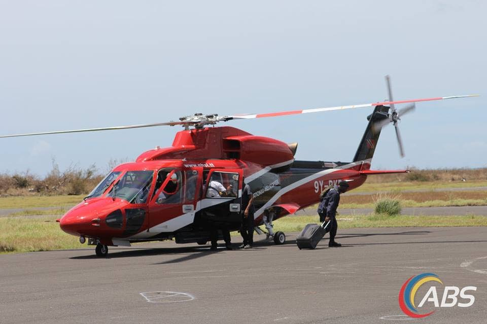 TT's helicopter arrives in Antigua. Photo by ABS TV/Radio