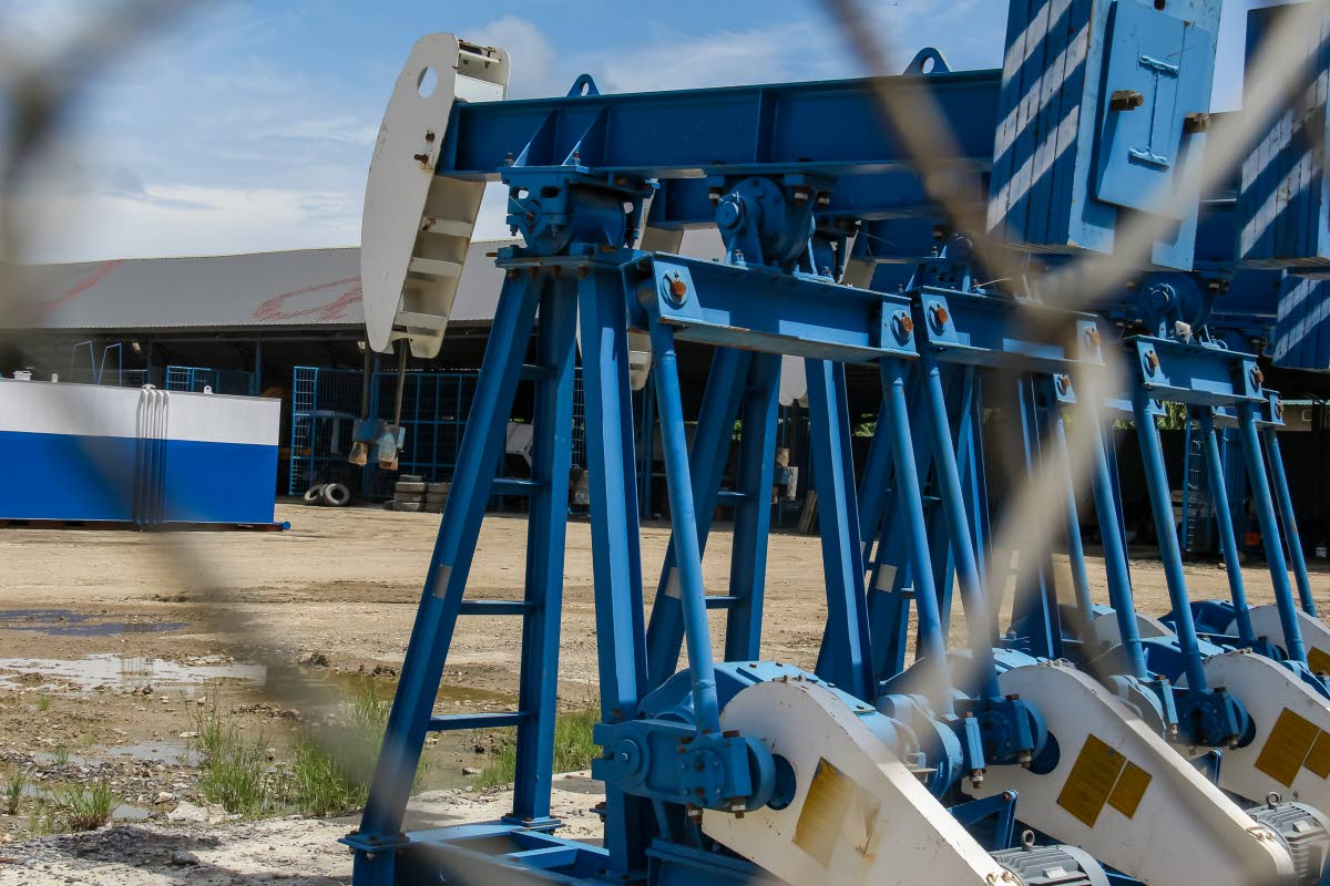 Oil equipment at the compound of a Petrotrin private lease operator in Penal.