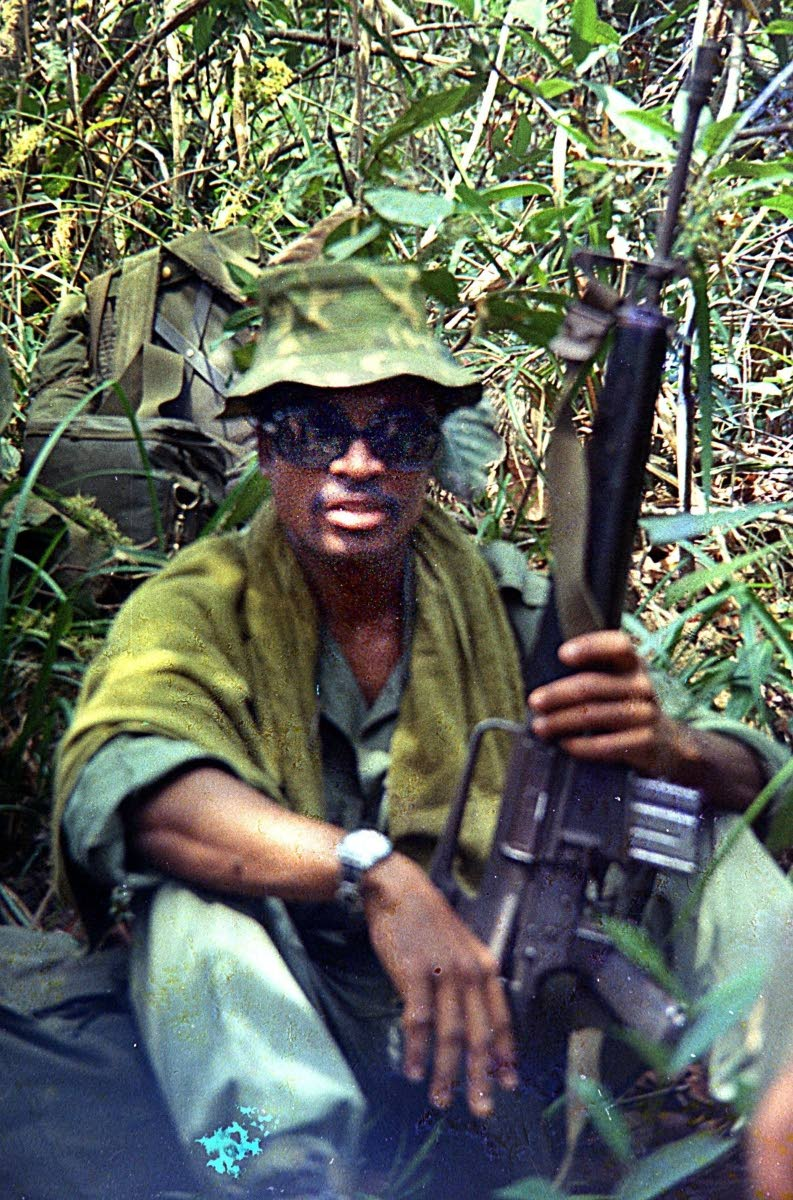 Dalton Narine, serving with the First Aviation Brigade and First Infantry Division as a combat controller. This image was taken in thee Ho Bo Woods soon after he walked into a termite mound that drew hundreds of black ants. PHOTOS COURTESY DALTON NARINE