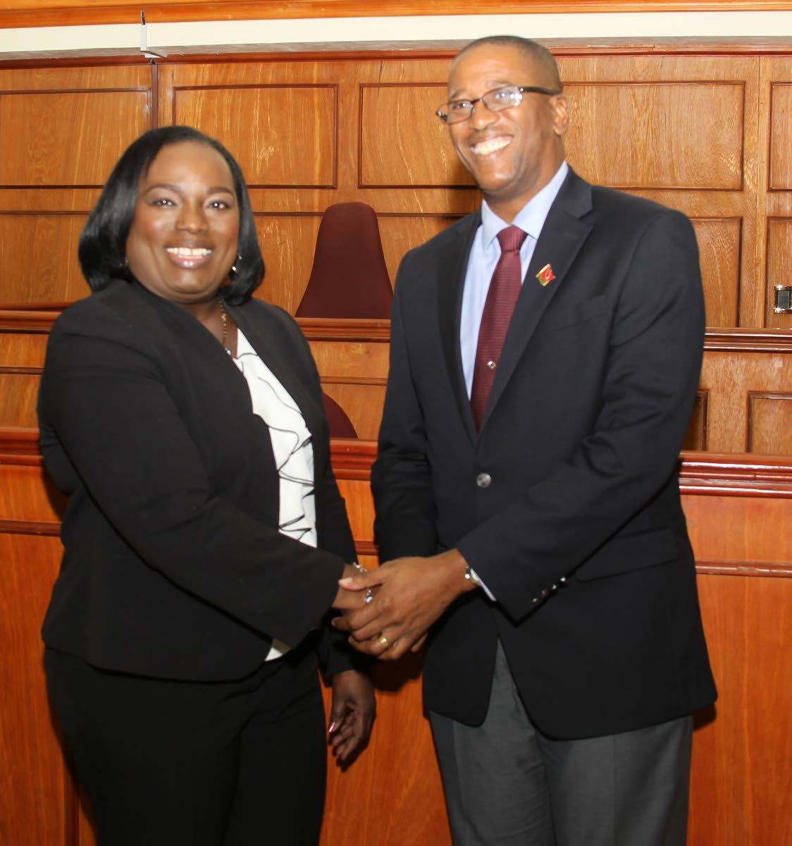 File photo: President of the Industrial Court Deborah Thomas-Felix with Chief Justice Ivor Archie after the court's formal opening on St. Vincent St, Port of Spain.