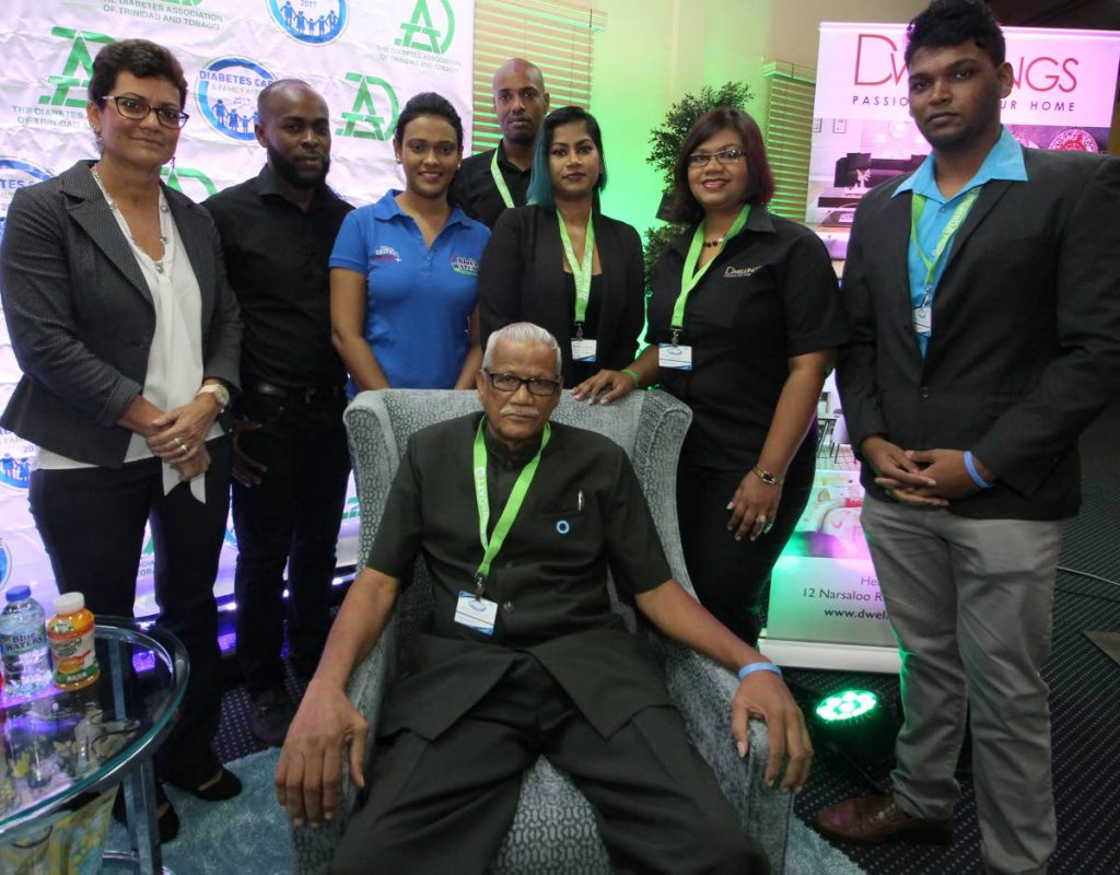 SPONSORS SHOW SUPPORT FOR DIABETICS EXPO: (seated centre) Premraj Boodram (President-DATT) alongside sponsors, Denise d'Abadie (Head of Corporate Communication- Nestle), Ferdiand La Fleur of CMG-Clinical Media Group, Renuisha Jattan (Blue Waters), Anamika Marajh (Centre of Excellence), Designer Jason Phillip (Dwellings) and Liliana Ragbir (Marketing Manager - Dwellings), alongside Project Coordinator Andrew Dhanoo of DATT, during the offical launch of the Diabetes Care Expo 2017.