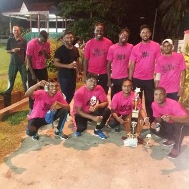 Members of the Knight Riders team after winning the South Big Bash 10-over Windball  competition on Sunday night.