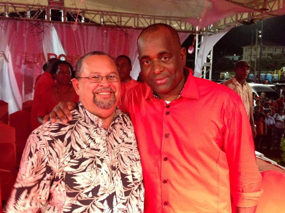 Former St Joseph MP Herbert Volney with Dominica Prime Minister Roosevelt Skerrit in Dominica earlier this year.