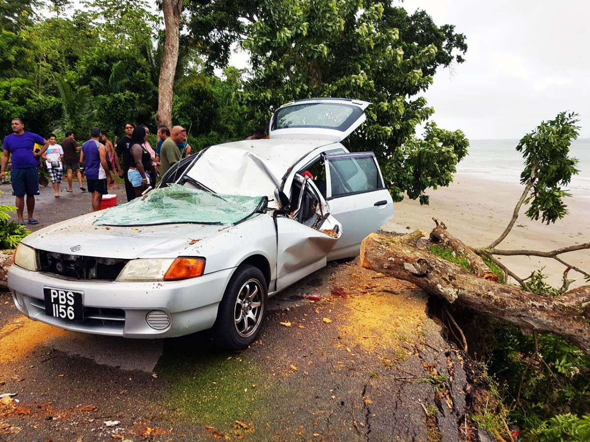 This car was damaged when a tree fell on it during heavy showers and strong gusts yesterday at the Granville beach. Two people were injured.