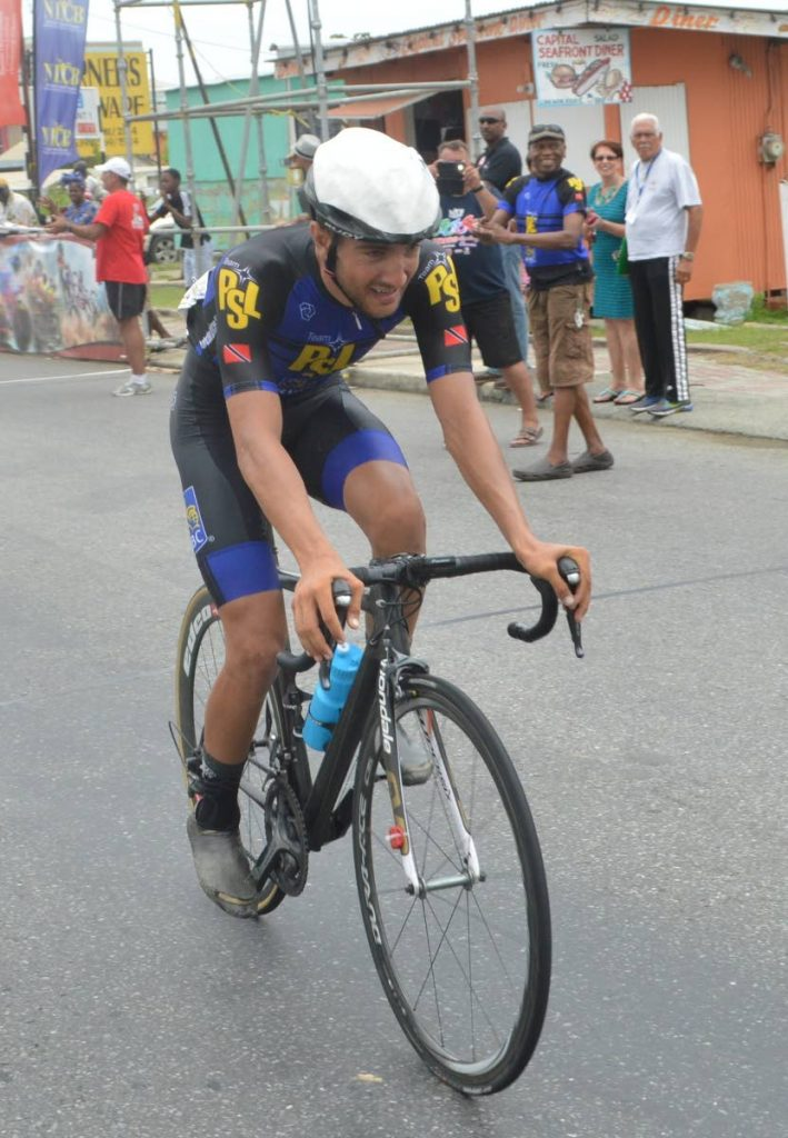 James Picolli of Canada on his way to victory in the 2016 UCI 1.2 Tour of Tobago Race of the  Tobago International Cycling Classic at the  Scarborough Esplanade.