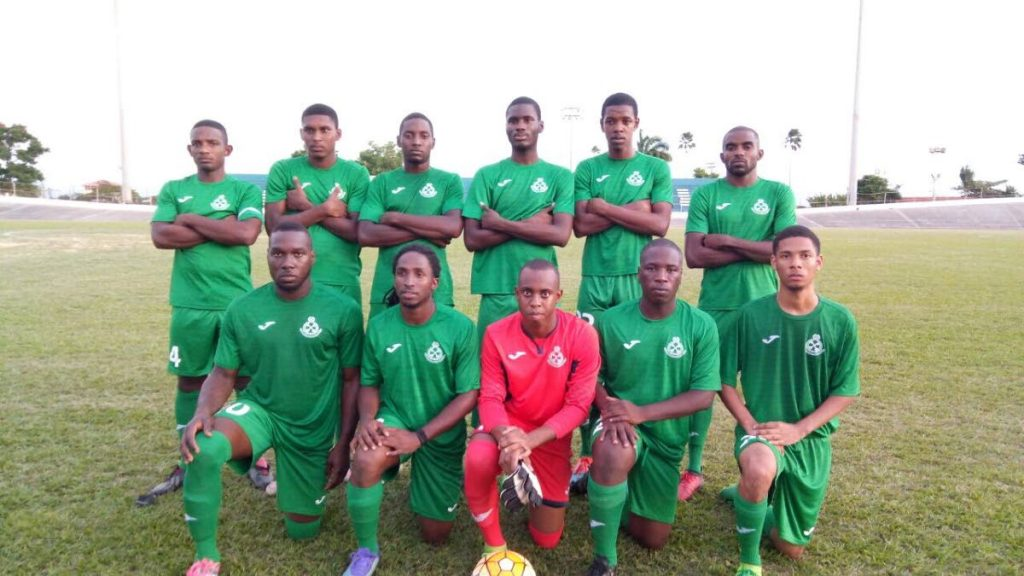 Members of the Prisons FC team, before a recent encounter. PHOTO COURTESY TT SUPER LEAGUE
