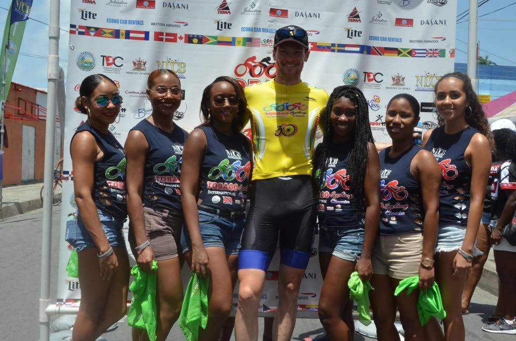 Dutch rider Arno Van Der Zwet, centre, might not be able to defend his Tobago International Cycling Classic crown as his luggage was yet to arrive in Tobago up to press time yesterday.