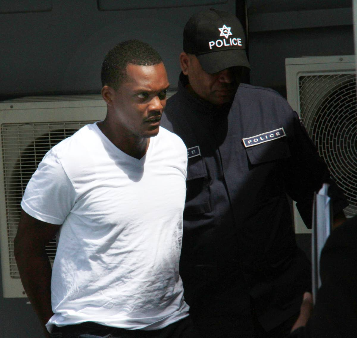 ON BAIL: PC Stephen Johnson who also appeared in the Siparia Magistrates Court yesterday and was also granted $1 million bail. PHOTO BY ANIL RAMPERSAD