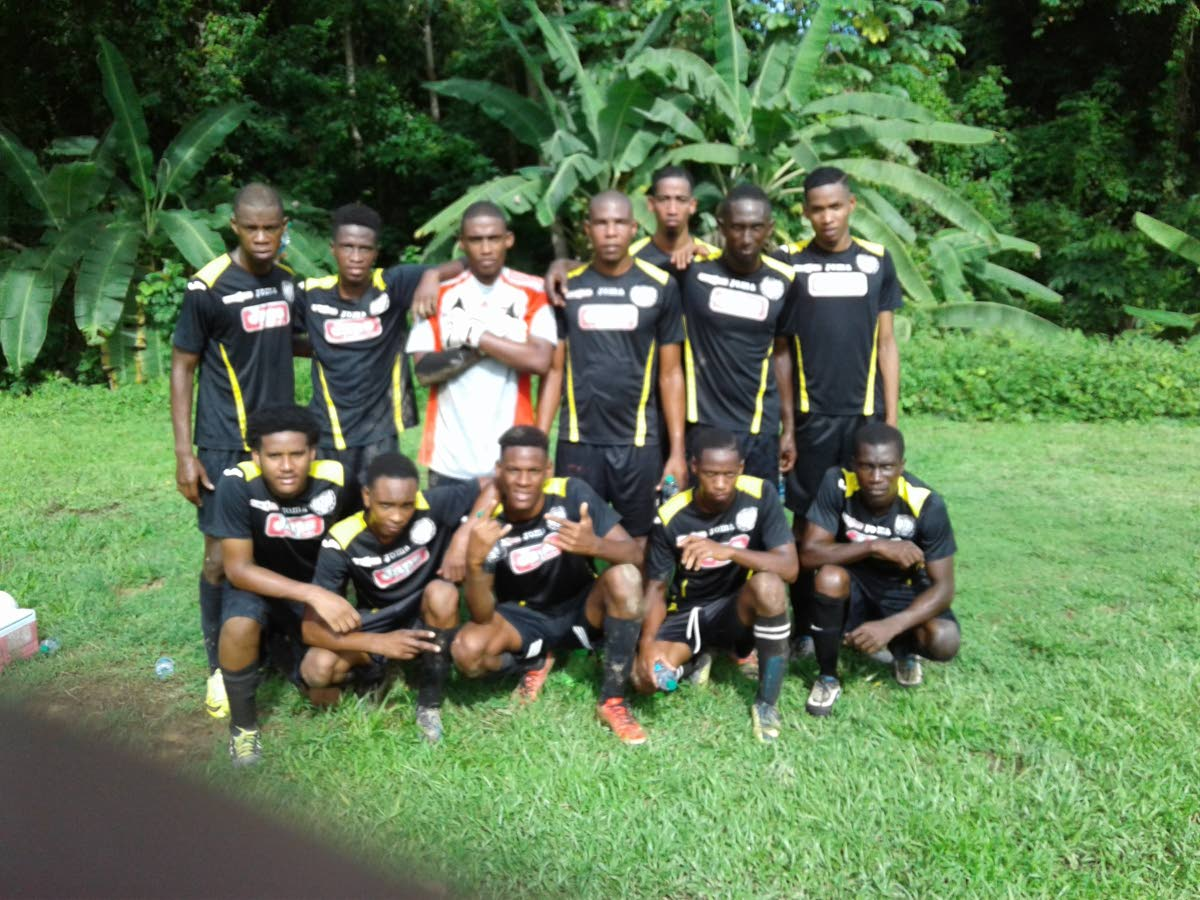Members of Gremio FC pose for a team photo after a victory in the Fishing Pond Football League recently.