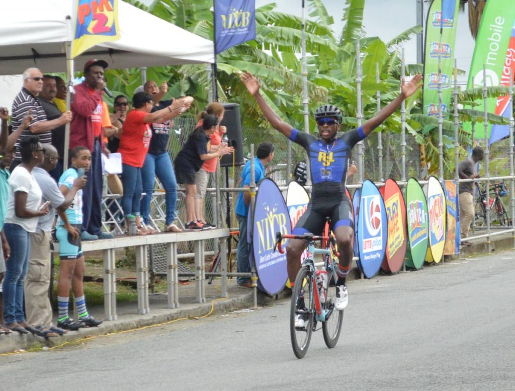 Akil Campbell (TTO/PSL) celebrates as he wins the Plymouth Stage of the 2017 Tobago International Cycling Classic yesterday.
