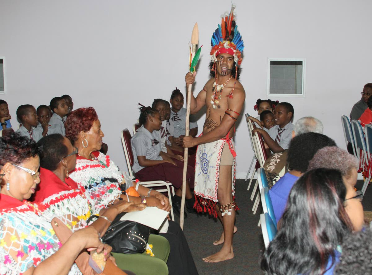 Narad Mahabir acts as Hyarima in the play Hyarima and the Saints written by Gyasi Garcia of St Francis College during the First Peoples Schools Outreach programme, UWI-ROYTEC North Campus, on September 26. This was one of the events leading up to Friday's First Peoples holiday .