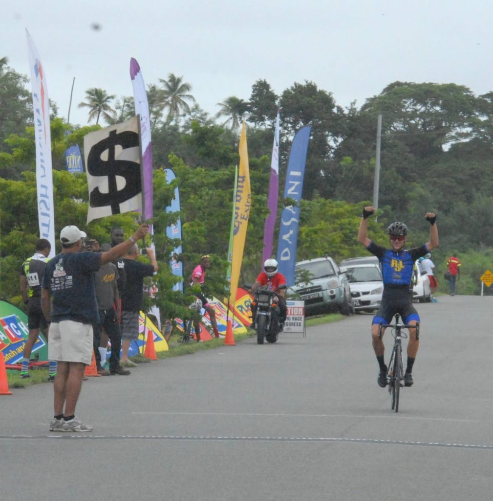 Peter Schulting (Netherlands/PSL) on his way to victory in the Division One of  Stage One of the Stage Race of the 2017 Tobago International Cycling Classic on Wednesday. PHOTO COURTESY TICC