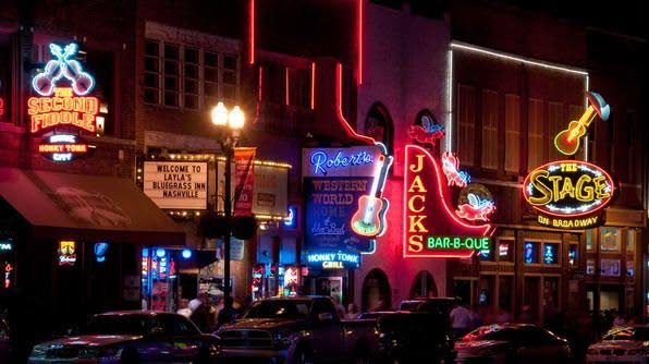 International spaces like Nashville, Texas, US are home to live music districts.