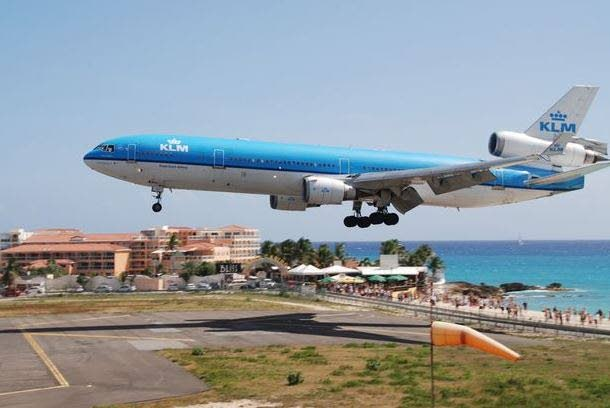 In this file photo, a plane is seen landing at the Princess Juliana International Airport in St. Maarten. PHOTO COURTESY THE DAILY MIRROR