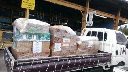 A truckload of supplies to be shipped to Dominica by Emile Elias'  NH International (Caribbean) Limited.