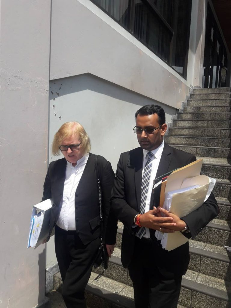 Irish Queen's Counsel Mary O'Rourke and attorney Alvin Pariagsingh, leaving the San Fernando High Court yesterday. They are representing the Gulf View Medical Centre.