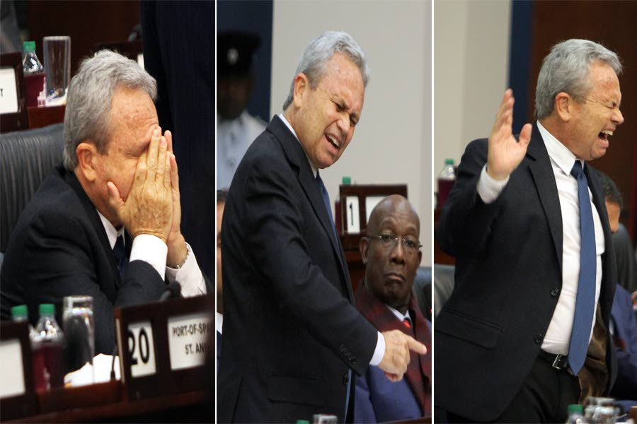 COLM'S PAIN: These composite photos show the emotional pain Finance Minister Colm Imbert probably experienced as he tried his best to impress on the nation, the dire economic straits TT is facing, during his winding-up of the budget debate in Parliament. PHOTOS BY ROGER JACOB AND SUREASH CHOLAI