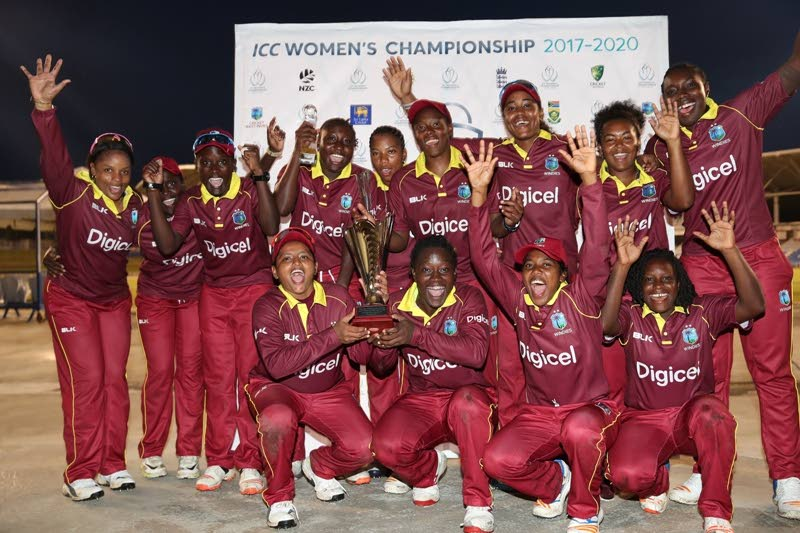 HIP HIP HOORAY...and members of the West Indies Women cricket team celebrate after completing a 3-0 series sweep over Sri Lanka Women at the Brian Lara Cricket Academy, Tarouba on Sunday.
