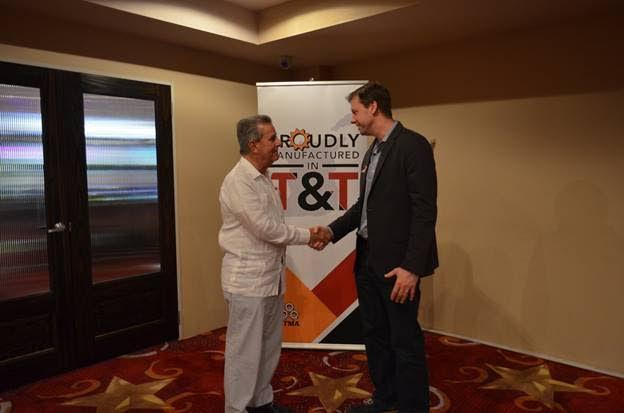 (Right) President of the Trinidad and Tobago Manufacturers Association (TTMA), Christopher Alcazar, meets with President of the Venezuelan Gas Processors Association (AVPG), Julio Cesar Ohep. PHOTO COURTESY TTMA