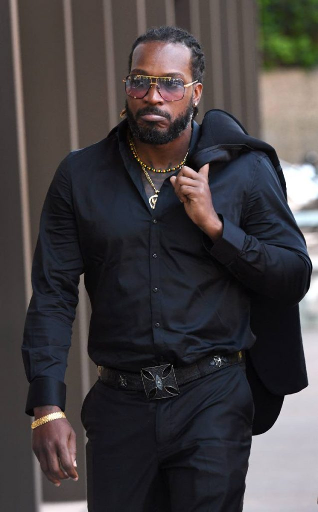 West Indies cricketer Chris Gayle arrives at the New South Wales Supreme Court in Sydney on Wednesday.