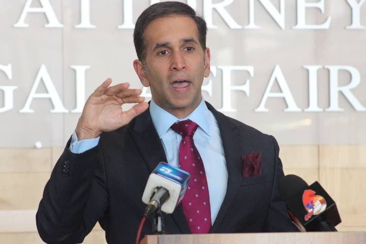 Attorney General Faris Al Rawi at a press conference at the Ministry of the Attorney General in Port-of-Spain