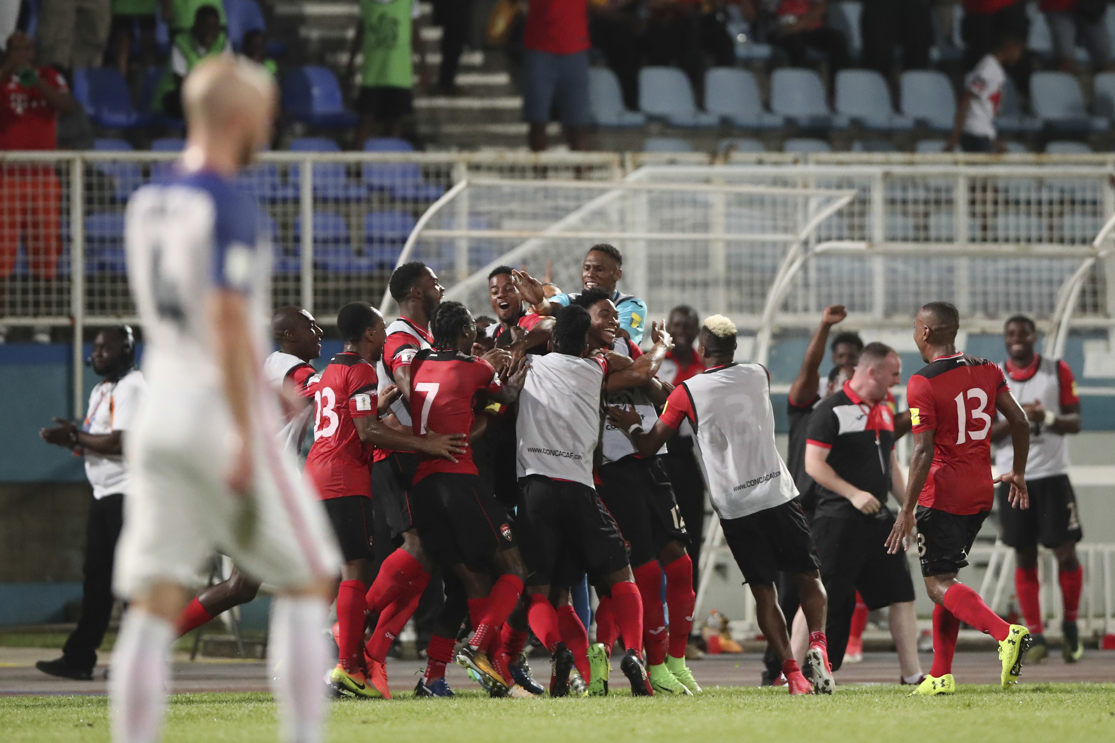 T&T celebrates Alvin Jones stunning goal to make it 2-0 vs USA during Russia 2018 FIFA World Cup Qualifier match at the Ato Boldon Stadium, Couva. PHOTO BY CA-Images