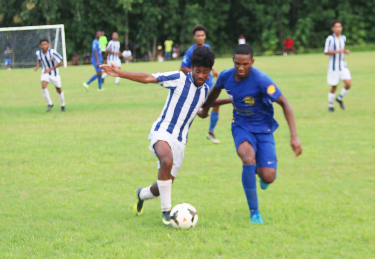 Shiva Boys and St Mary's in action during a Secondary Schools Football League game earlier this season.