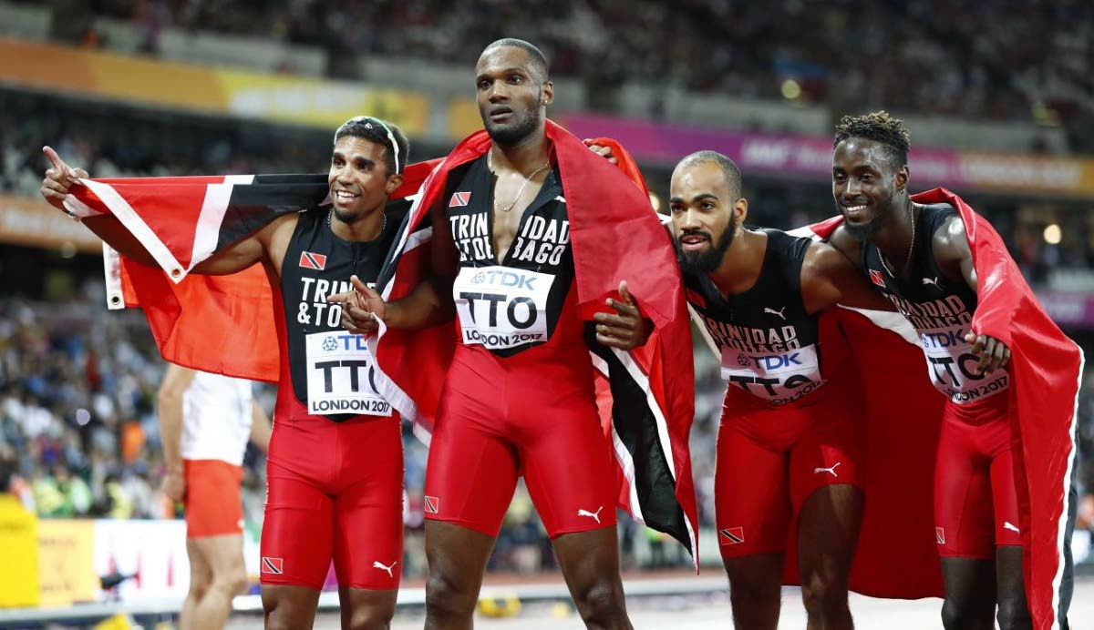 2017 World champs (from left) Jarrin Solomon, Lalonde Gordon, Machel Cedenio and Jereem Richards pose after winning gold in the 4x400 final in London.