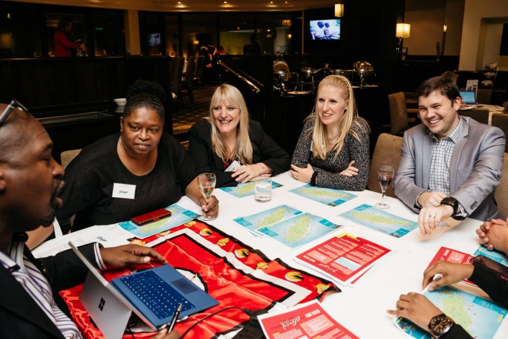 London, UK based travel agents are briefed on Destination Tobago by Stephen Smith, left, at a training session hosted by the Division of Tourism at the World Travel Market 2017 in London, UK.