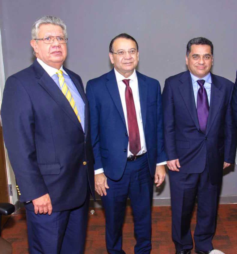 ENERGY TALKS: From left, Angel Gonzalez, Venezuela's Vice Minister of Hydrocarbons, Energy Minister Franklin Khan and Douglas Sosa, Venezuela's Vice Minister of Gas, following the Joint Steering Committee and Special Multi-Disciplinary Committee meetings.