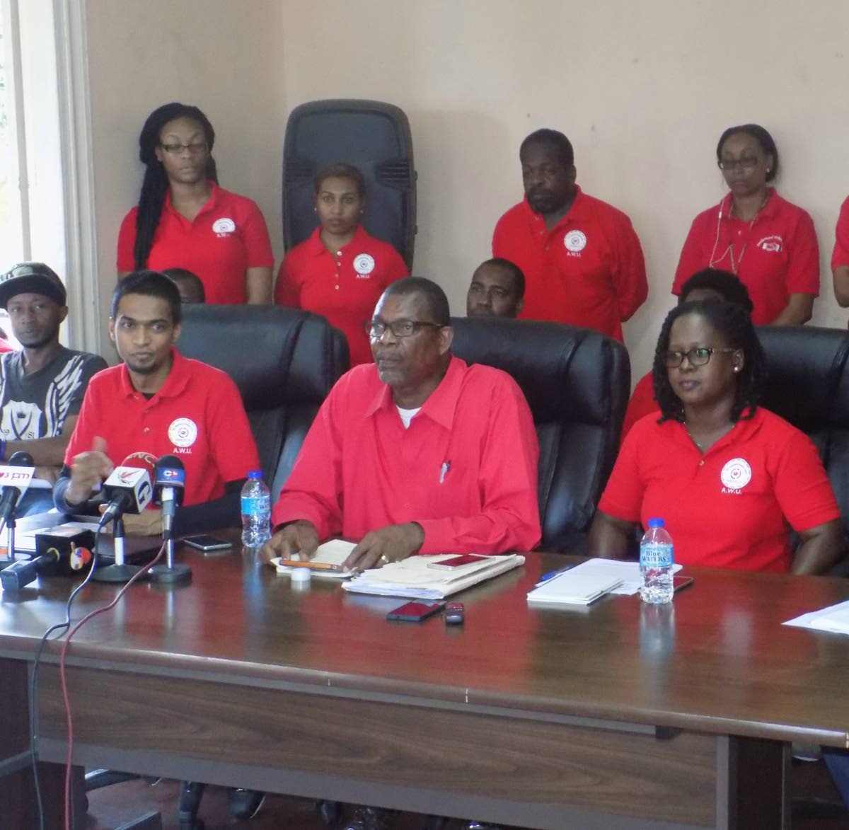 FILE PHOTO: President General of the Amalgamated Workers Union Michael Prentice and General Secretary Cassandra Tommy-Dabreo, speak to reporters during a press conference at the Union's headquarters in Port of Spain.