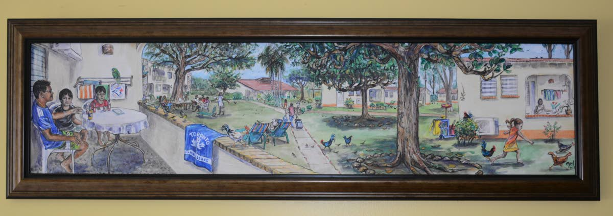 A painting on display at Johnstons Apts in Crown Point by artist and teacher Gail Pantin.
