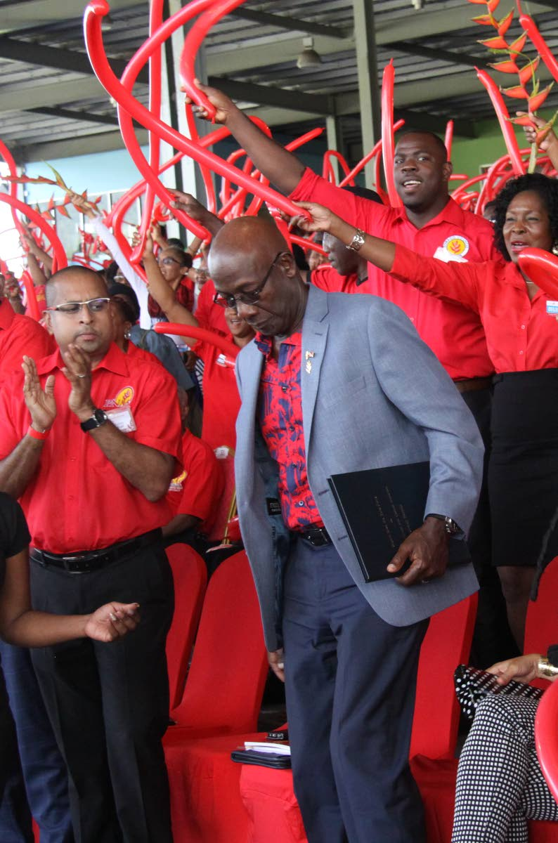 HAIL THE CAPTAIN: PNM Political Leader and Prime Minister, Dr Keith Rowley is welcomed on stage to give the feature address at the party's annual Convention, Grand Stand, Queen's Park  Savannah, yesterday.