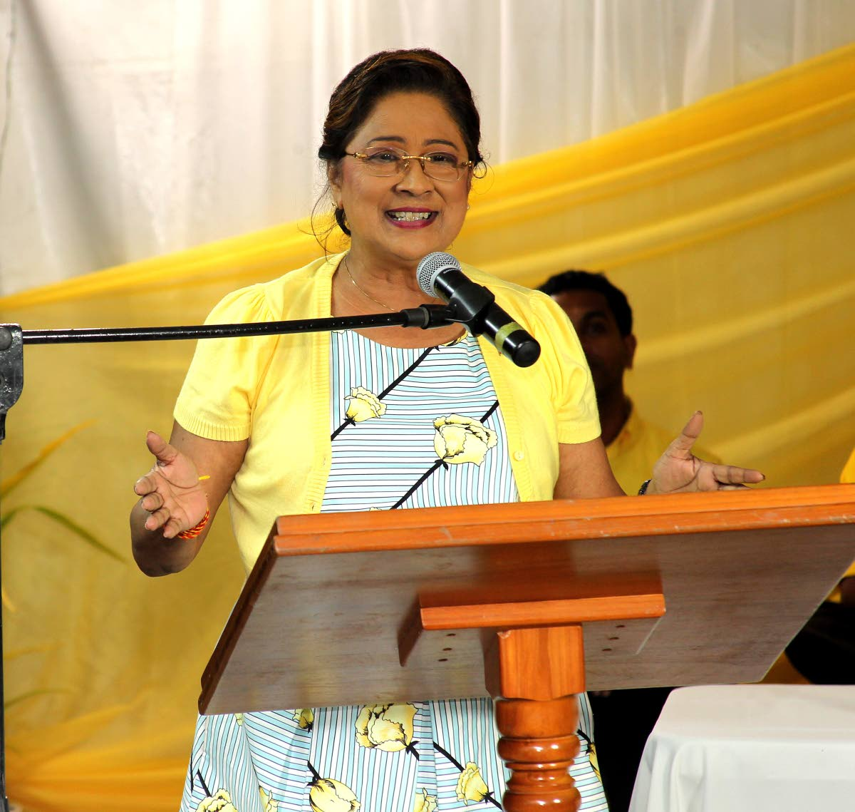 Political leader of the United National Congress, Kamla Persad-Bissessar, speaking at a cottage meeting ahead of the UNC's internal election on November 26. PHOTO BY LINCOLN HOLDER.