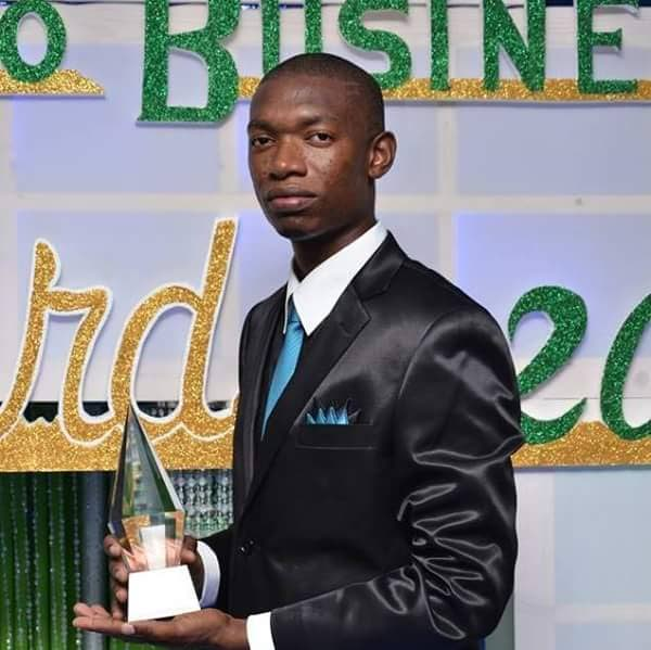 Garrett McKellar poses for a photo after being awarded the Tobago House of Assembly''s Youth Entrepreneur of the Year in 2012.