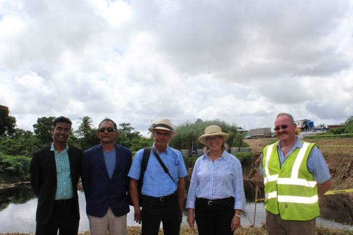 Carla Hogan Rufelds, Canadian High Commissioner to TT, 2nd from right, during her tour of the Guanapo landfill. SWMCOL CEO Ronald Roach (left) and Chairman Shamshad Mohamed (2nd from left) hosted the tour.
