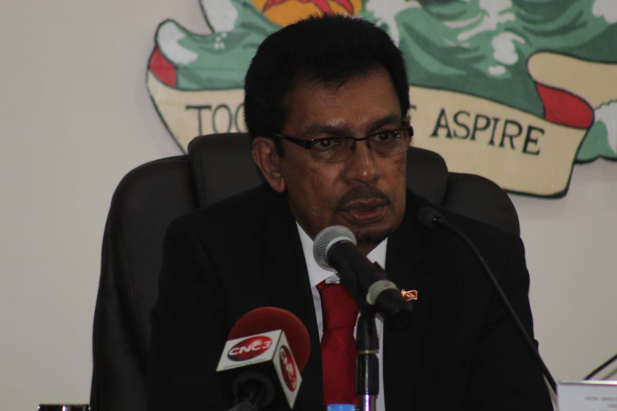 Minister of Local Gvernment Kazim Hosein at this week's statutory meeting of Port-of-Spain City Corporation. PHOTO BY STEFFON DOUGLAS.