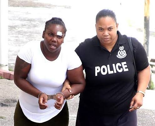 Alisha Richards who was charged with assaulting a policeman moments after her common-law husband was shot by police at Carlton Lane, San Fernando in October last year.  PHOTO BY VASHTI SINGH