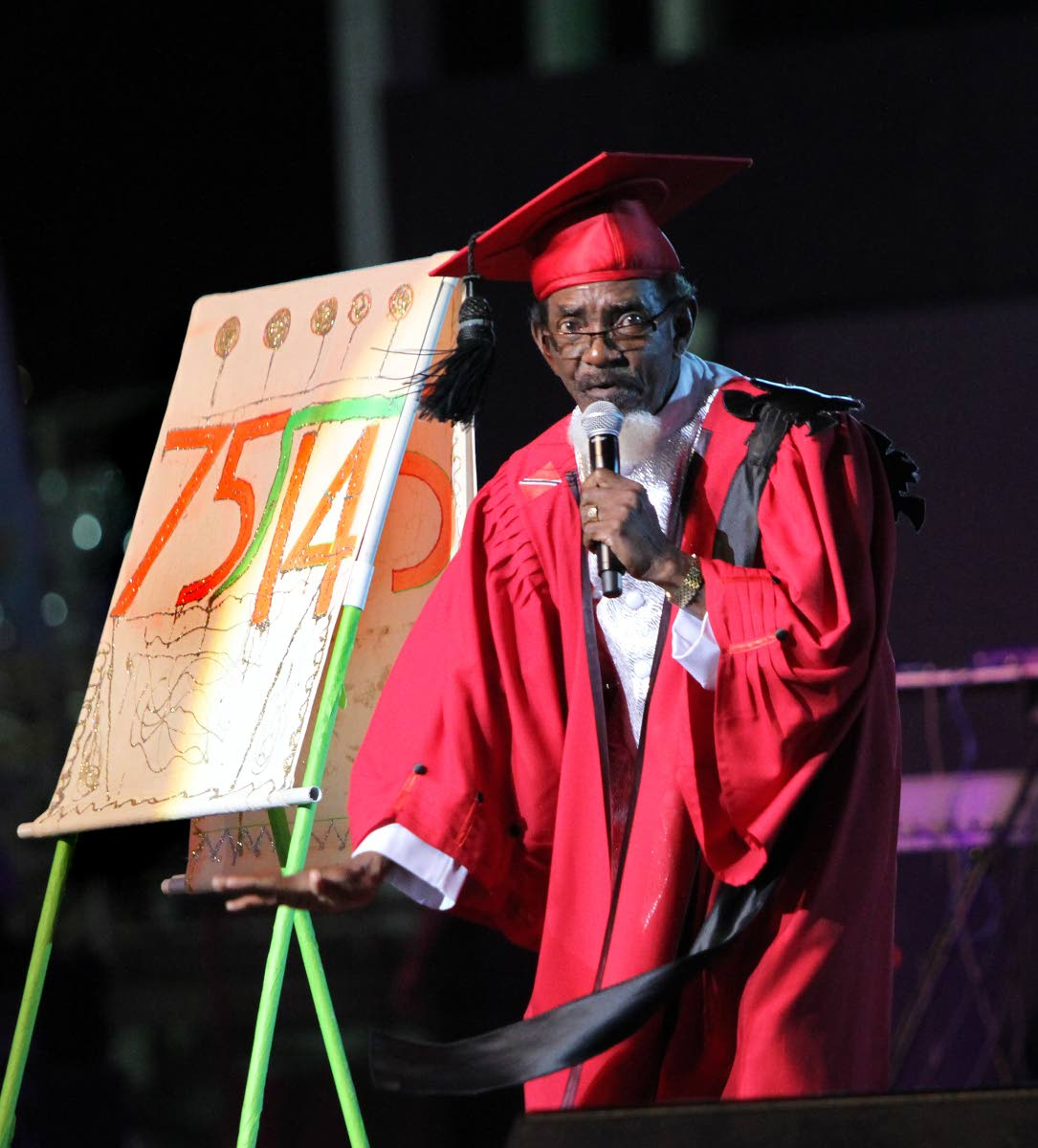 "KAISO KING: Dr Hollis ""Chalkdust"" Liverpool in his performance of Learn from Arithmetic, a song denouncing child marriage, to win his ninth Calypso Monarch crown at the 2017 final."