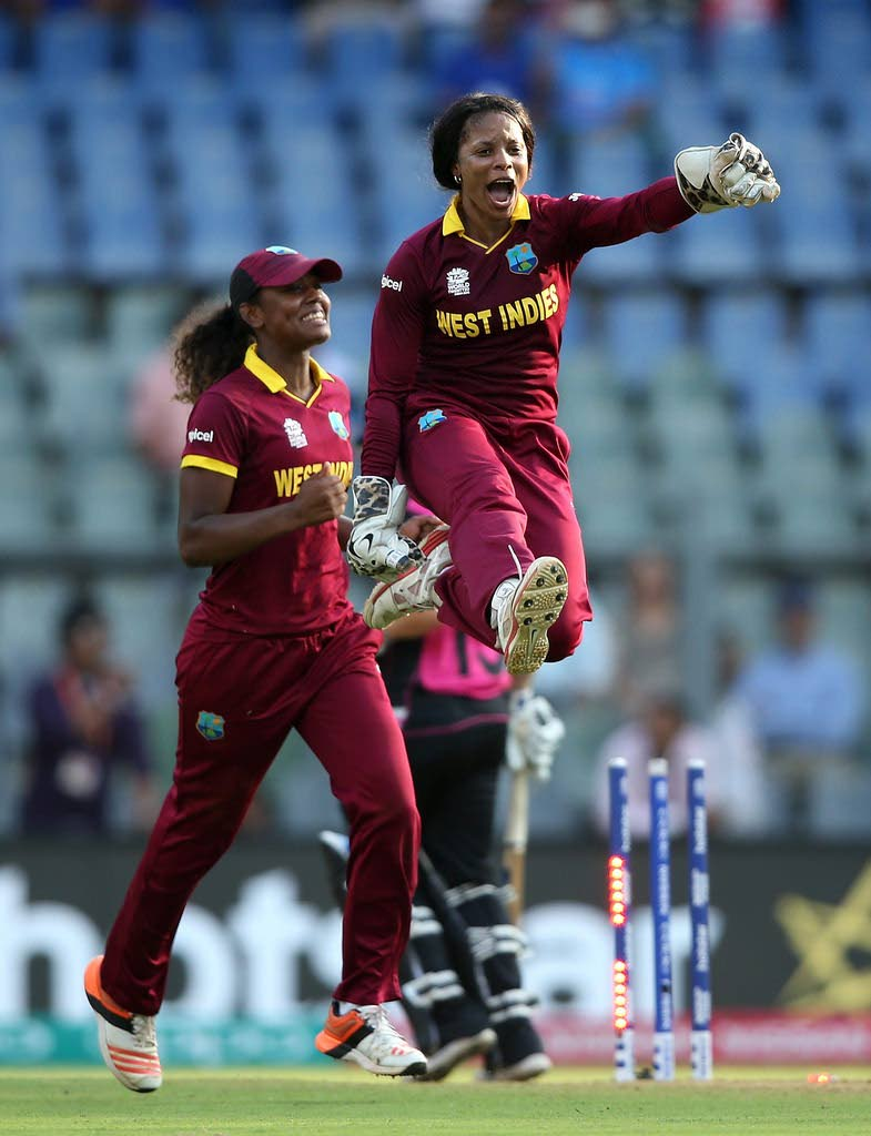 West Indies and Trinidad and Tobago wicketkeeper, Merissa Aguilleira, right, is not happy that TT did not bid to host matches for the 2018 Women's T20 World Cup.