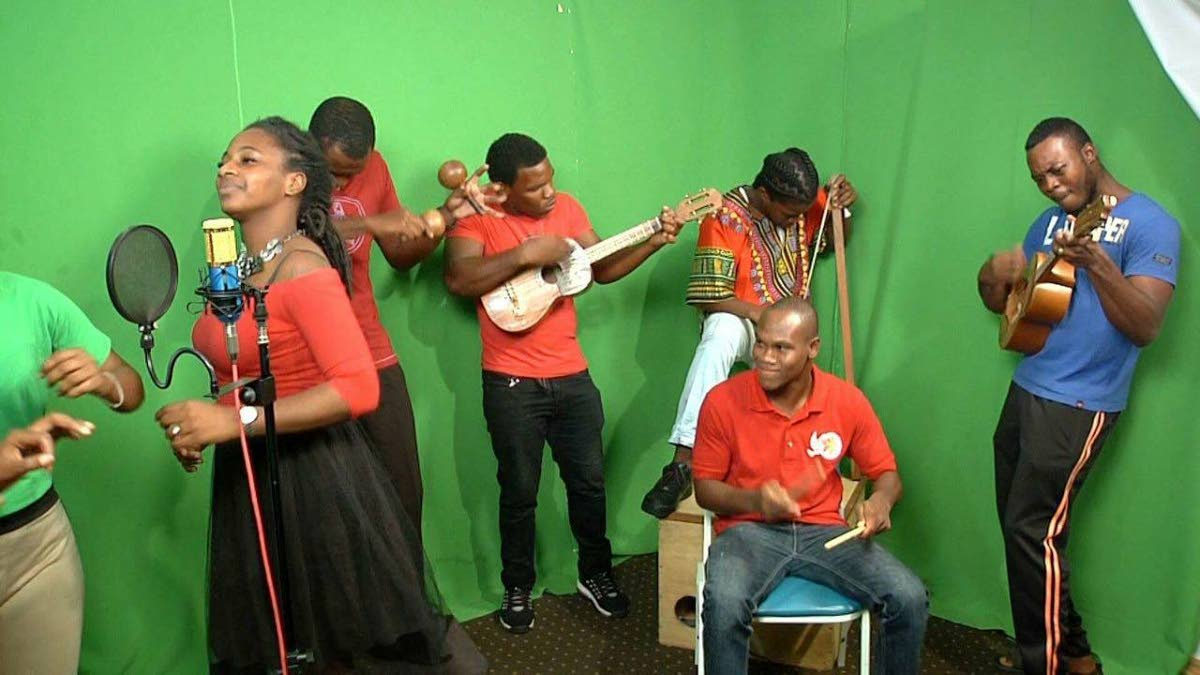 Musicians with El Corazon de Parang, from left, De Sean Beckles, Johnaton Ellis, Adrian Mark, Kalvin Joseph and Drew Dyer.