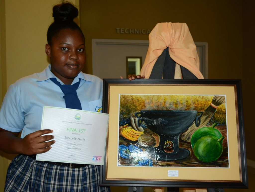 Juhchelle Archie, a finalist in the Tobago Secondary Schools' Art Competition 2017, shows of her painting,