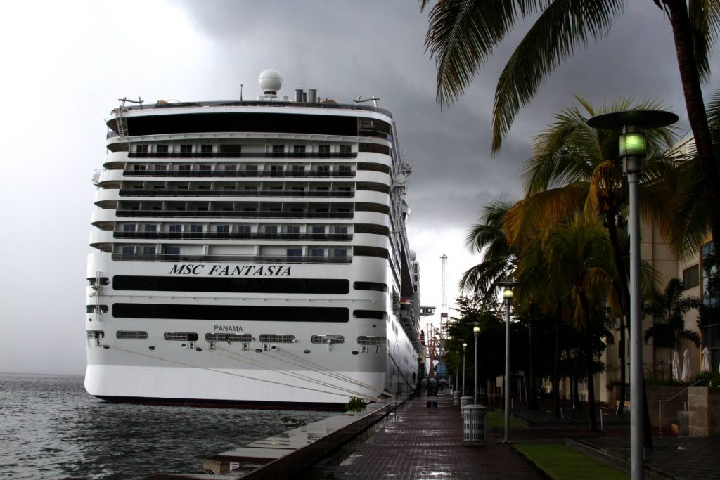 The cruise-liner MSC Fantasia docked at the Shipping Complex in the Port of Port of Spain. PHOTO BY ROGER JACOB.